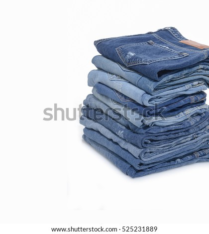 Blue Jeans stacked â??white background
