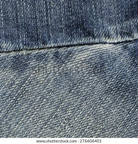 blue jeans texture closeup,seam - stock photo