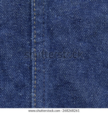 blue jeans texture decorated with seam - stock photo
