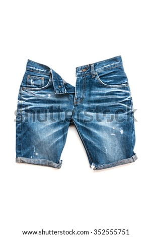 Blue jeans trouser short open zip isolated on the white background - stock photo