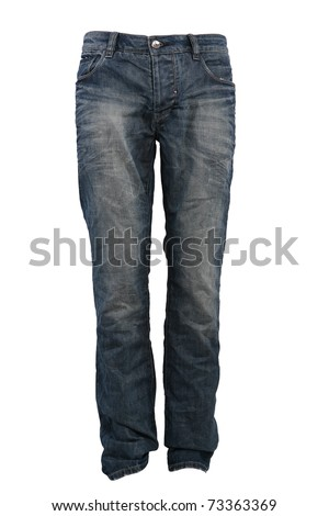 Blue jeans trousers isolated on white - stock photo