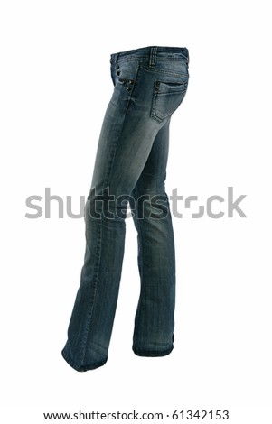 Blue jeans trousers on a mannequin isolated on white - stock photo