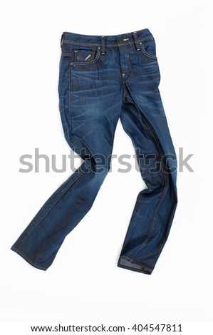 Blue Jeans trousers on white background - stock photo