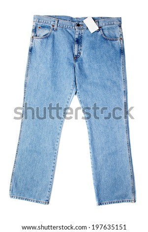 Blue jeans with a label, isolated on white background