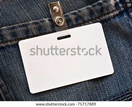 Blue jeans with blank tag - stock photo