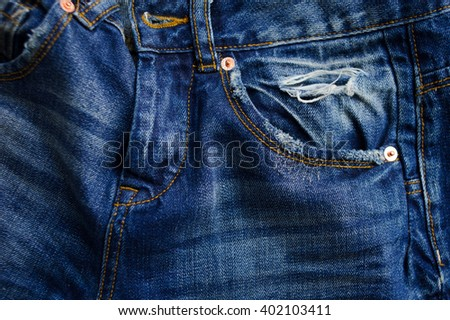 Blue jeans with pocket. Selectibe fokus, place for text. - stock photo