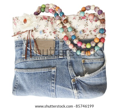 Blue jeans women bag isolated on white background - stock photo