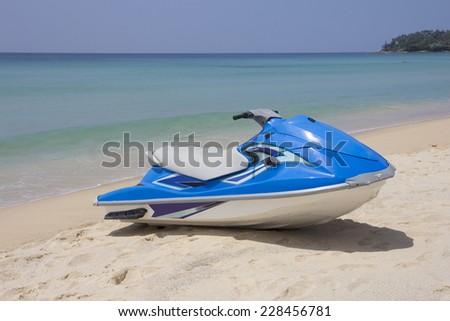 Blue jetski on Surin beach, Phuket, Thailand - stock photo