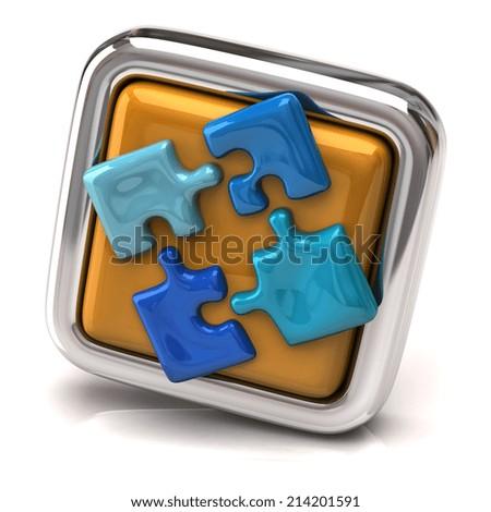 Blue jigsaw on orange button - stock photo