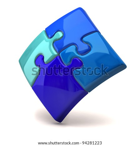 Blue jigsaw puzzle on white background - stock photo