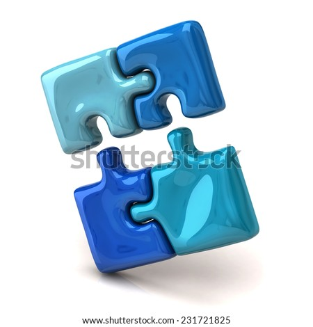 Blue jigsaw puzzle pieces - stock photo