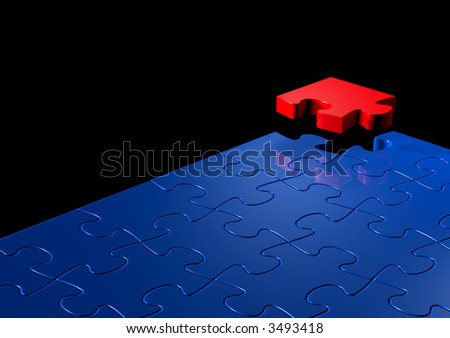 Blue Jigsaw Puzzle with One Red Piece - stock photo