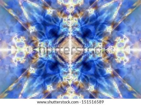 Blue kaleidoscope textured pattern background - stock photo
