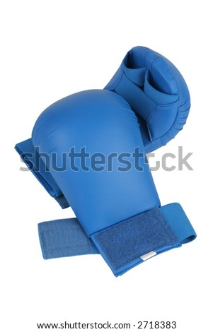 Blue karate gloves. Isolated on white. Clipping path included. - stock photo