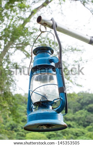 blue kerosene lamp