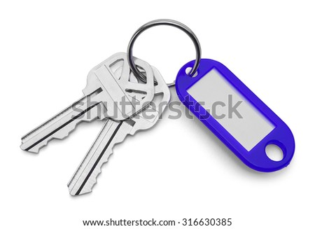 Blue Key Chain Tag and Keys Isolated on White Background.
