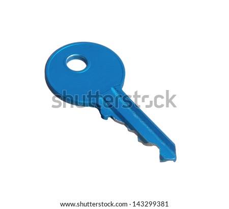 Blue key isolated on white background. - stock photo