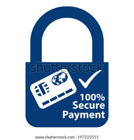 Blue Key Lock With 100 Percent Secure Payment Sign Label or Sticker Isolated on White Background  - stock photo