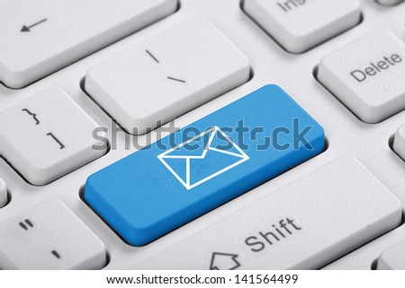 Blue key of the computer. The symbol - stock photo