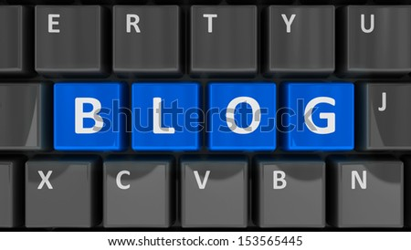 Blue keys with word blog on the computer keyboard, three-dimensional rendering - stock photo