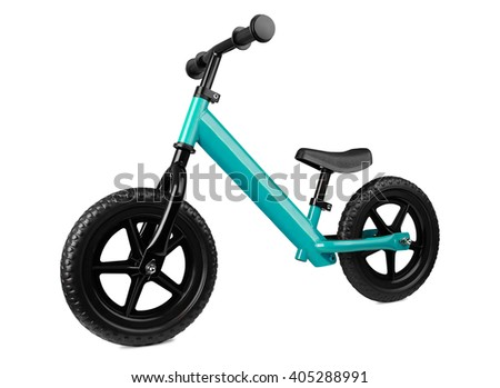 blue kick scooter, isolated on white. kids' transport - stock photo