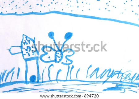 Blue Kid drawing over white background - stock photo
