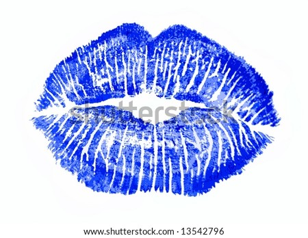 Blue kiss lips lip print - stock photo