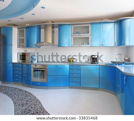blue kitchen - stock photo