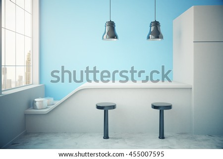Blue kitchen interior with fridge, countertop, two stools, cooking pans, ceiling lamps and window with city view. 3D Rendering - stock photo