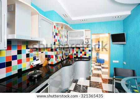 Blue  kitchen modern interior design - stock photo