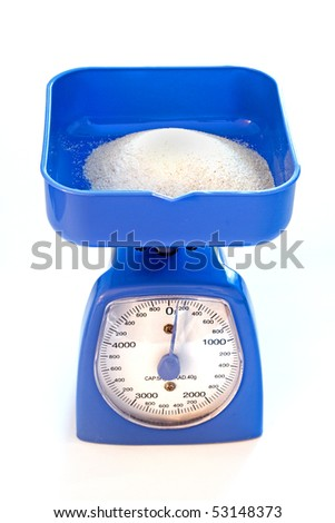 Blue kitchen scale