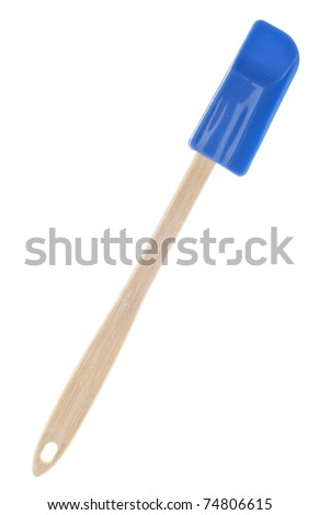 Blue Kitchen Spatula Isolated on White with a Clipping Path. - stock photo