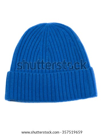 Blue knit cap. Isolate on white. - stock photo