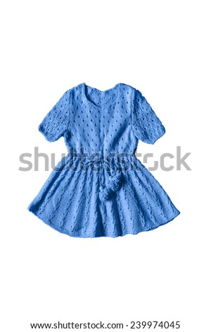 Blue knitted baby dress isolated over white - stock photo