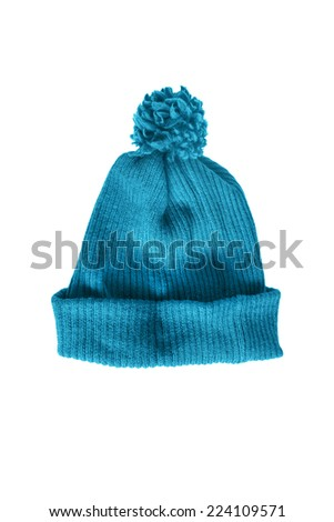 Blue knitted cap on white background - stock photo