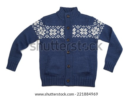 Blue knitted cashmere sweater with a pattern of a snowflake. Isolate on white. - stock photo