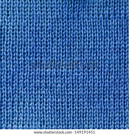 Blue knitted fabric texture abstract background - stock photo