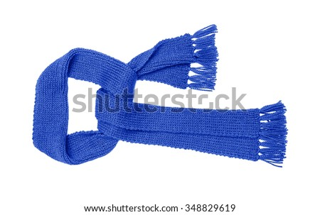Blue knitted scarf isolated on white background. - stock photo