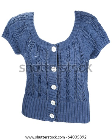 Blue knitted woman's jacket with button on white background - stock photo