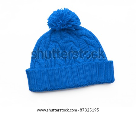 Blue knitted wool hat isolated on white background - stock photo
