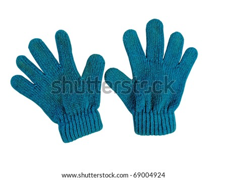 Blue knitted woolen baby gloves, on white - stock photo