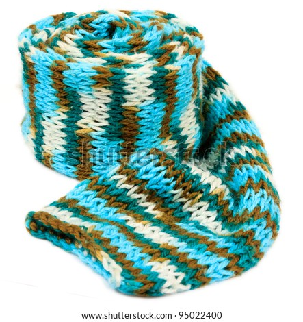 Blue knitting scarf isolated on white background - stock photo