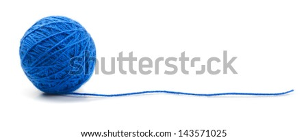 Blue knitting yarn clew isolated on white - stock photo