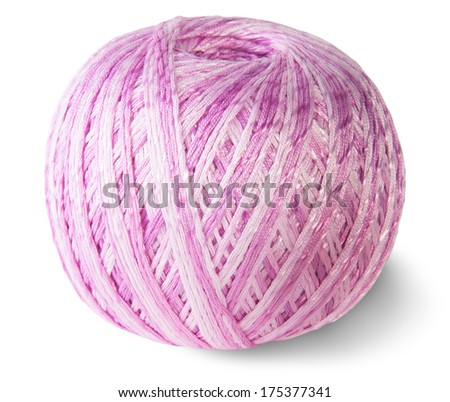 Blue knitting yarn clew isolated on white background - stock photo