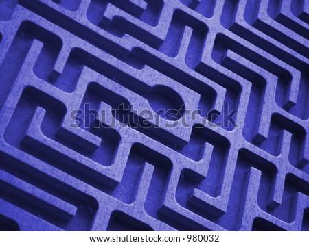blue labyrinth - stock photo