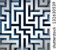 blue labyrinth wall structure in top perspective view illustration - stock photo