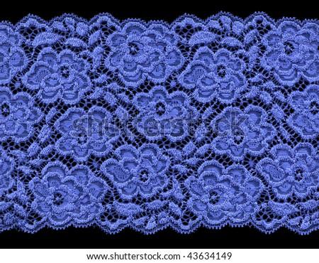 Blue lace on black background, extra large image - stock photo