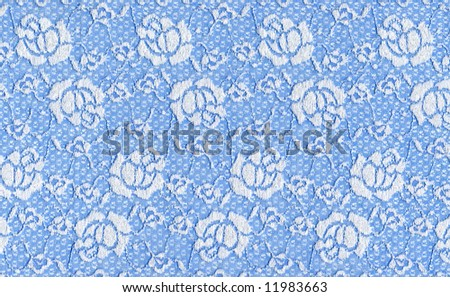 blue lace with white flowers - stock photo