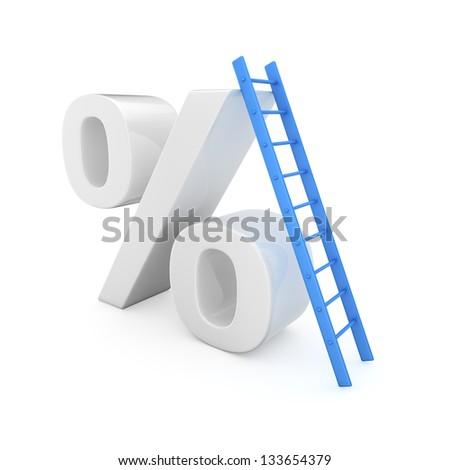 Blue ladder on the high percentage symbol - stock photo