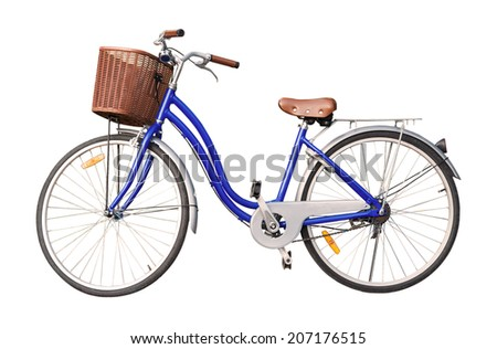 blue ladies bicycle isolate on white background. - stock photo